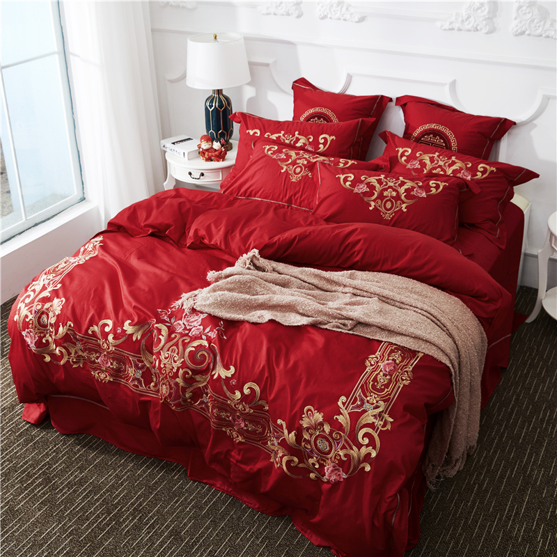 luxury 100% Cotton luxury Classic Red Wedding Bedding Set Embroidery Duvet Cover Bed Sheet Pillowcases Queen King Size 4/6pcsluxury 100% Cotton luxury Classic Red Wedding Bedding Set Embroidery Duvet Cover Bed Sheet Pillowcases Queen King Size 4/6pcs