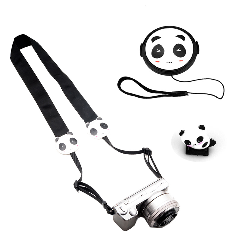 2019 Latest Design 3d Cartoon Panda 37/40.5/43/46/49/52/58mm Lens Cap Camera Hot Shoe Cover Strap For Canon Nikon Fujifilm Panasonic Leica Olympus