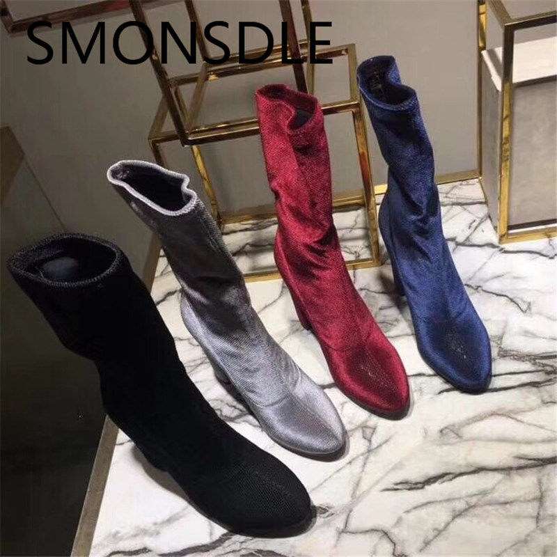 SMONSDLE New Black Blue Suede Round Toe Women Spring Autumn Mid Calf Boots Slip On Chunky Heel Women Elastic boots Shoes Woman smonsdle black stretch knitting slip on women mid calf boots sexy pointed toe thin heel women spring autumn boots shoes woman