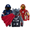 Free shipping !! 2017 New children's cartoon baby coat kids iron man Batman Spiderman jacket boys baby clothes suit