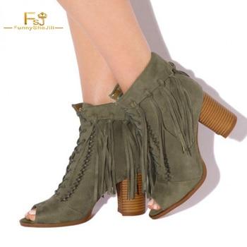 shoes women ankle boots Olive Green Fringe Boots Block Heel Peep Toe flock chunky heels FSJ big size US 14 16 Fashion autunmn