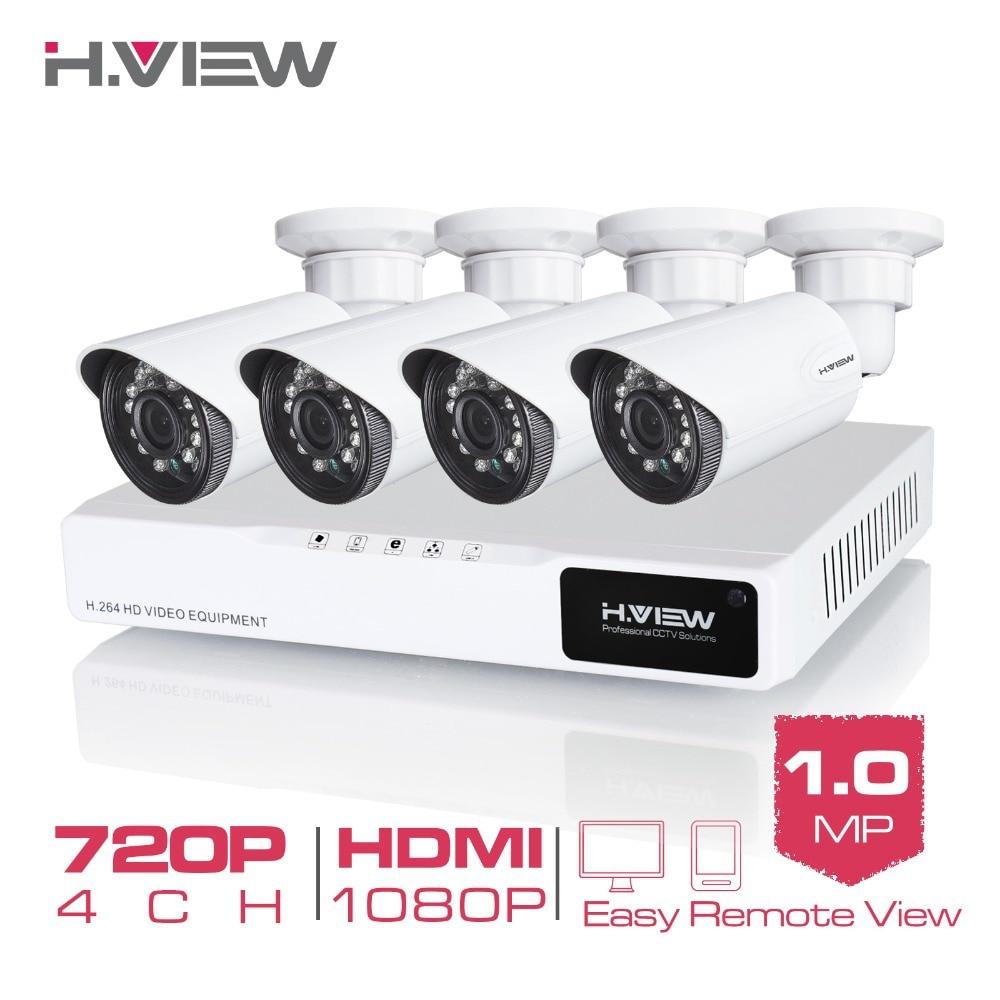 H. Ansicht 4CH CCTV-System 720 P HDMI AHD CCTV DVR 4 STÜCKE 1,0 MP IR Outdoor-überwachungskamera 1200 TVL Kamera Überwachung Kit