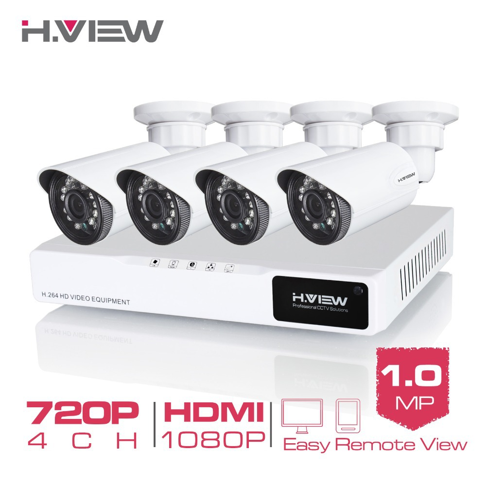 H. view 4CH Cctv-systeem 720 p HDMI AHD CCTV DVR 4 stks 1.0 MP IR Outdoor Bewakingscamera 1200 TVL camera Surveillance Kit