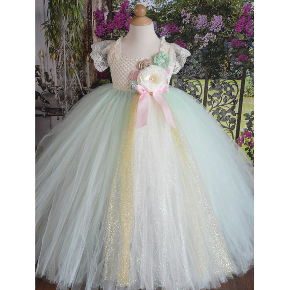 Mint Green Flower Girl Ankle Length Wedding Party Tutu Dress Child Lace Strap Formal Prom Gown Flowers Evening Banquet Dresses 50pcs lot fr9220
