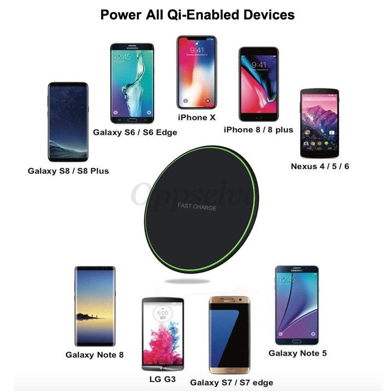 Qi Wireless Charger Pad For iPhone X XS 8 Samsung Galaxy S9 S8 Fast Charging Mobile Phone Desktop Wireless Charging Dock Station  - buy with discount
