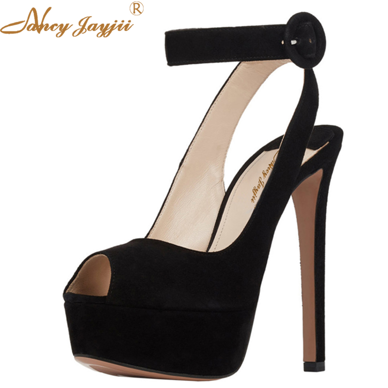 Gold&Black Suede Ankle Strap Peep Toe 3cm Platform Pumps 14cm High Heels Sandals Shoes For Woman Plus Size 16 Nancyjayjii 2014 new designer black women fsahion zipper sandals pumps sotf suede leather shoes commodities trading platform cheap sandals