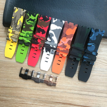 28mm camouflage black Green White Blue Orange Yellow Red Rubber Silicone Waterproof Watch Strap For AP Watchbands Royal Oak