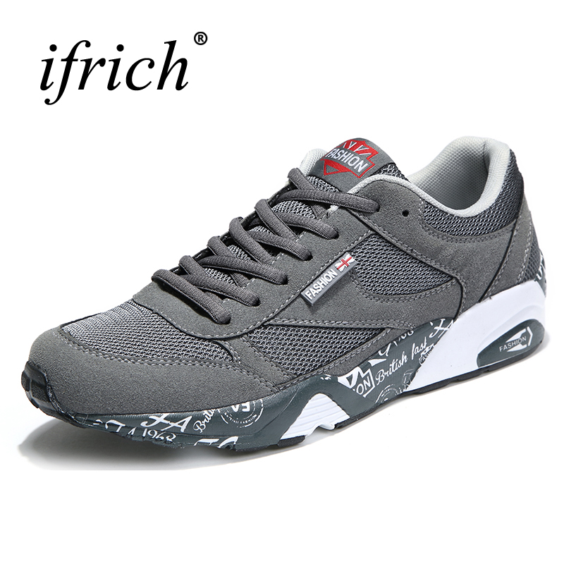 2017 New Arrival Brand Men Running Shoes Lace Up Walking Sneakers Rubber Men Sport Shoes Black Gray Wearable Athletic Trainers