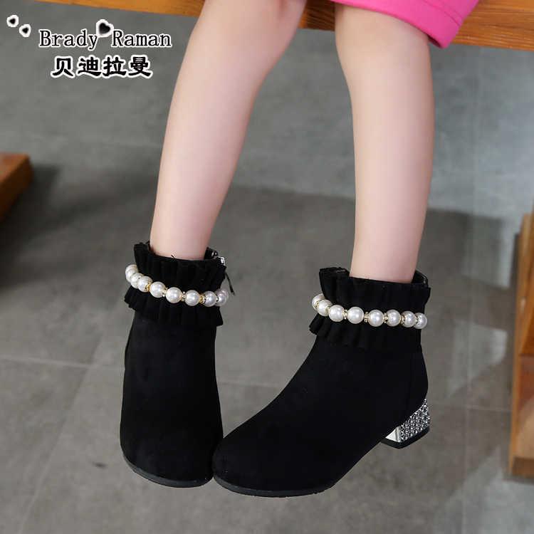 Girls  high heel princess boots fall   winter 2018 Korean children s shoes  low boots little db217c86aa71