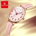 Julius Брендовые женские кожа часы розовый маленький циферблат креативные часы Женские кварцевые наручные часы Reloj Mujer подарки на день рождени...