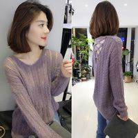 Jumper O neck Promotion Hot Sale Women Sweaters And Pullovers Poncho 2018 Lazy Thin Section Cross Hollow Backless Sweater Woman