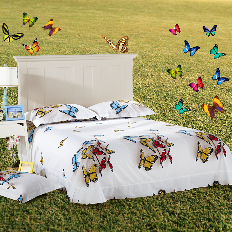 Modern Designs 3D Colorful Butterfly White Bedding Set Queen Size Pure  Cotton Bed Sheets Quilt Cover Pillowcase Home Textiles In Bedding Sets From  Home ...