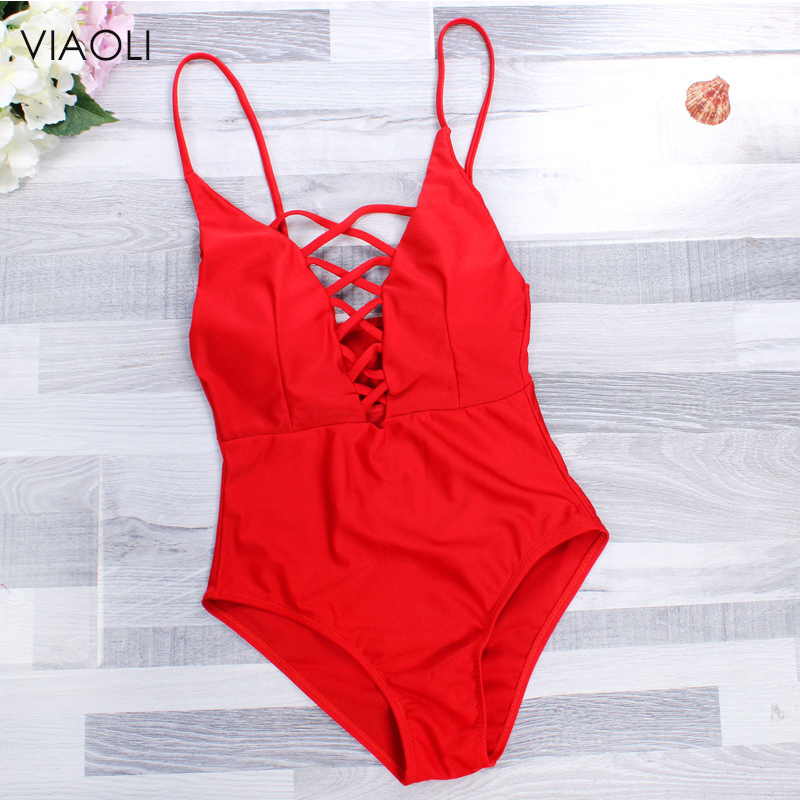 Red Swimsuit Bandage Monokini Biquini Beachwear One-Piece Lady's New Women for Sexy