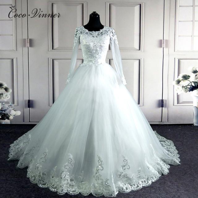 Arabic Muslim Elegant Long Sleeves Wedding Dress Custom Made Applique Beads Bride Wedding Gowns W0049