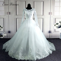 C V Arabic Muslim Ball Gown Elegant Long Sleeves Wedding Dresses Custom Made Applique Beaded Design