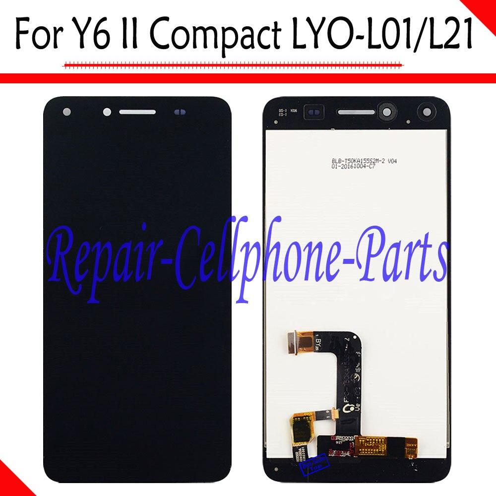 imágenes para Negro nueva pantalla lcd full + pantalla táctil digitalizador asamblea reemplazo para huawei y6 ii compacto lyo-l01 lyo-l21 envío gratis