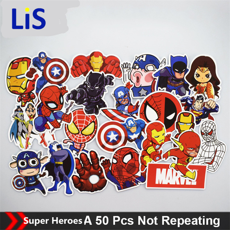 50Pcs/Lot Anime Classic Stickers Toy For Laptop Skateboard Luggage Decal Waterproof Funny Spiderman Stickers For kids
