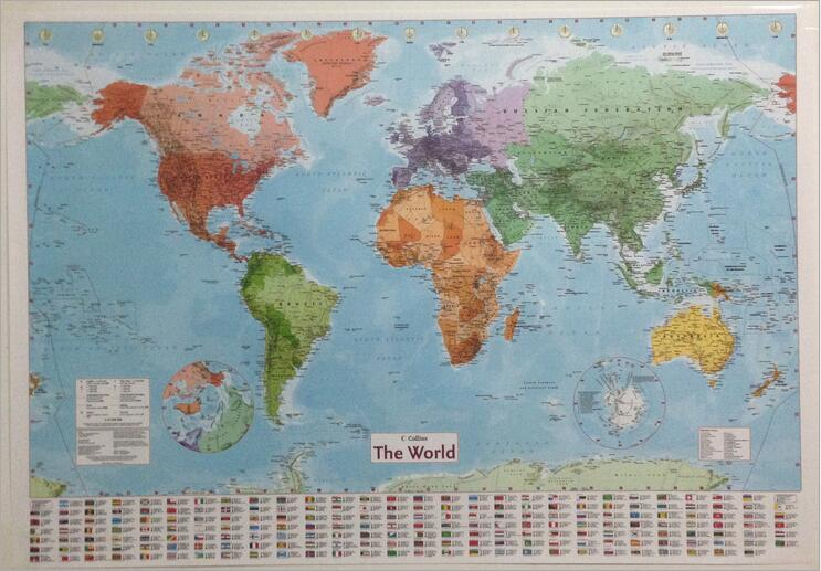 large world Geography map wall stickers original creative art     Please select  Color