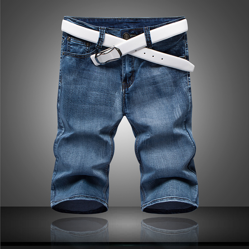 Mens Short Jeans Fashionelastic Summer-Style Breathable Cotton Thin Jeans/size-28-36