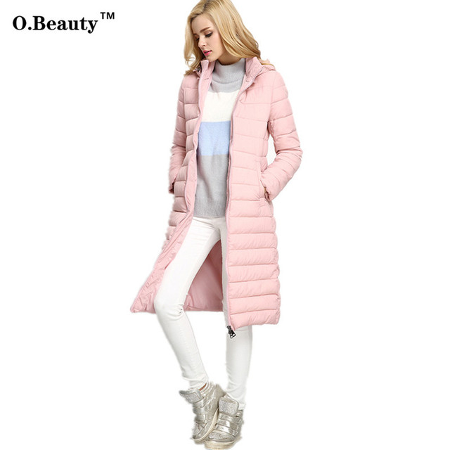 2016 Mulheres Jaquetas e Casacos de Inverno Longo Para Baixo Casaco Fino Espessamento Fêmea Quente Senhoras Parka Capuz Casaco Manteau Femme
