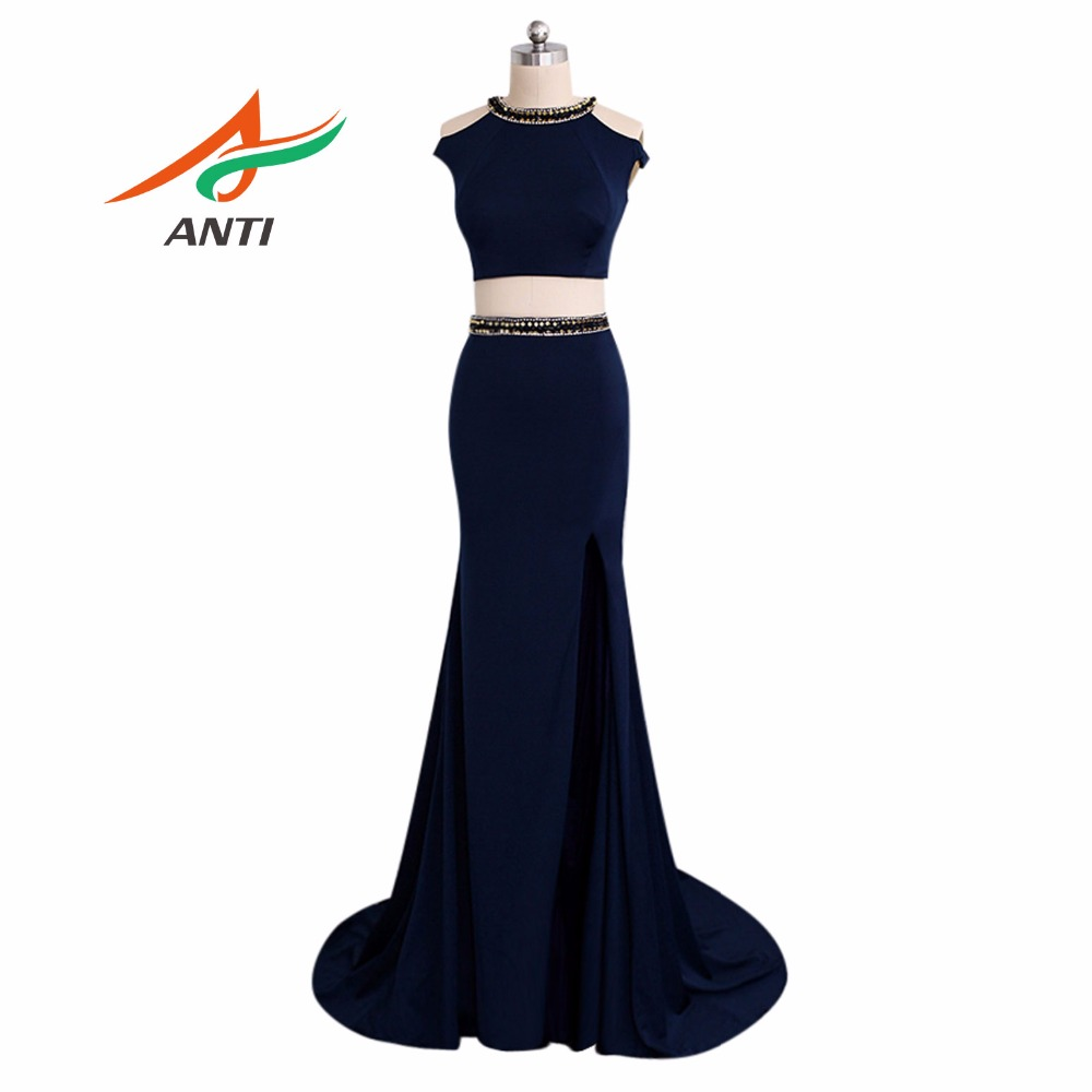ANTI Fashion Dark Blue Mermaid   Prom     Dresses   Long 2018 O-Neck Rhinestone Vestidos De Festa Elegant Party Formal Gowns New