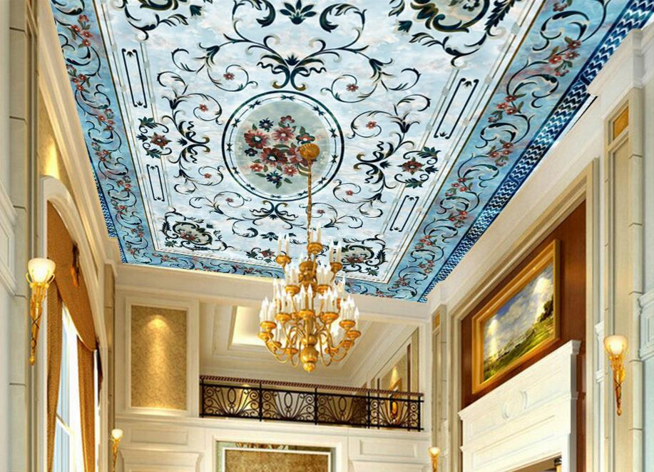 ФОТО 3d flooring custom wallpaper Continental European-style floor painting the ceiling pattern pvc self -adhesive wallpaper