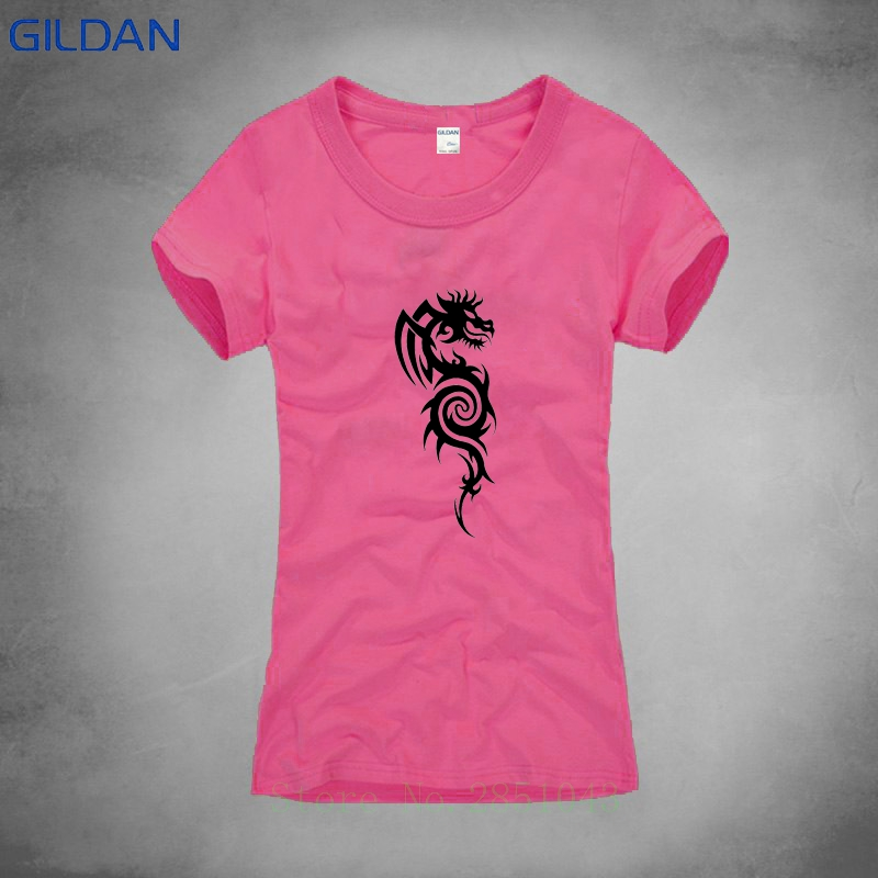 Novelty Dragon Funny T Shirt Lady Cotton Anti-Wrinkle Tee Shirt 2018 Top Tees Funny T-Shirt Sexy Pink Shirt Women