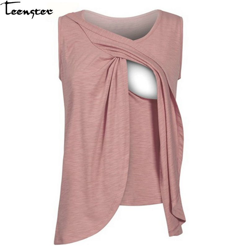 Teenster Breastfeeding Clothes Summer Short Sleeve Nursing Tops Pregnancy Shirts Maternity Woman Plus Size T Shirt Mom Tee