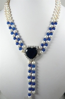 Hot sale 2 rows 7 8MM White Genuine Freshwater Pearl blue stone bead+ heart shaped black crystal pendant necklace 18in