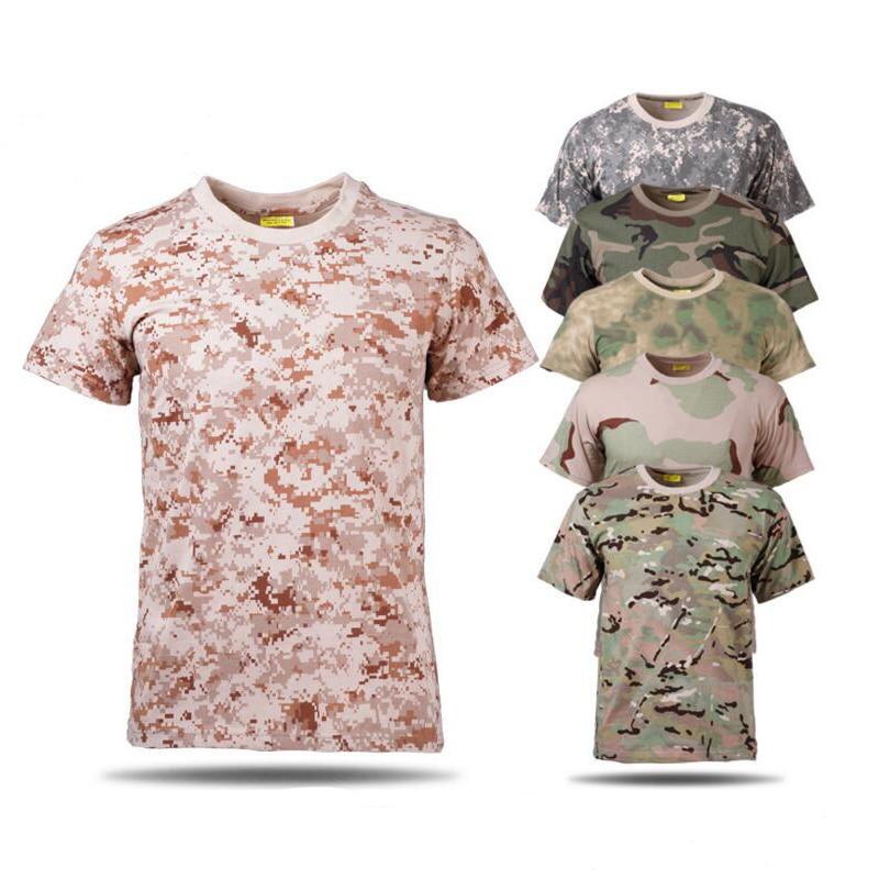 Muži New Camouflage T-Shirt letní Quick Dry O-krk krátký rukáv Tactical vojenské prodyšné trička Muti Color