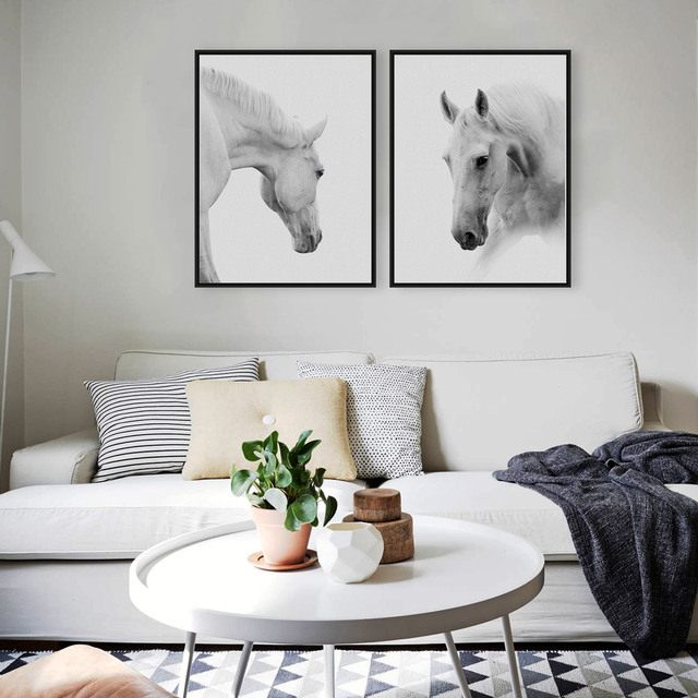 Wild Animals White Horse Head Large Canvas Art Print Poster Wall Picture Living Room Modern Nordic