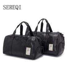 SEREQI new upgrade version of men and women models quality travel bag PU leather couple shoulder bag handbags fashion travel