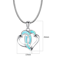 Double Heart Pendants Blue Fire Opal Necklace For Women Romantic Lover Christmas Gifts PJ180219006 1