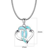 Double Heart Pendants Blue Fire Opal Necklace For Women Romantic Lover Christmas Gifts PJ180219006 1