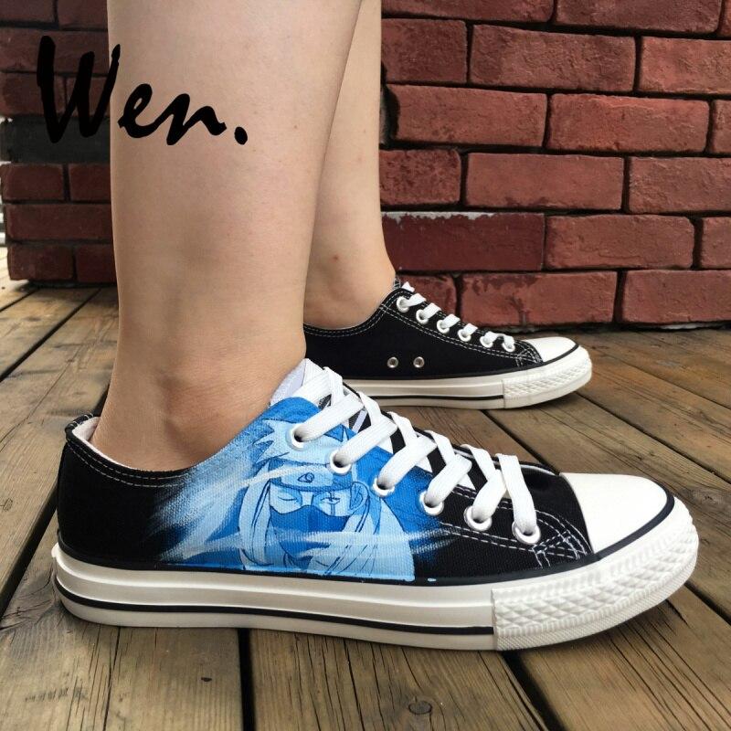 6b2a354b27b4 Wen Black Shoes Design Custom Anime Naruto Kakashi Hand Painted Canvas  Sneakers Man Sport Lace up Plimsolls Women Platform Flat