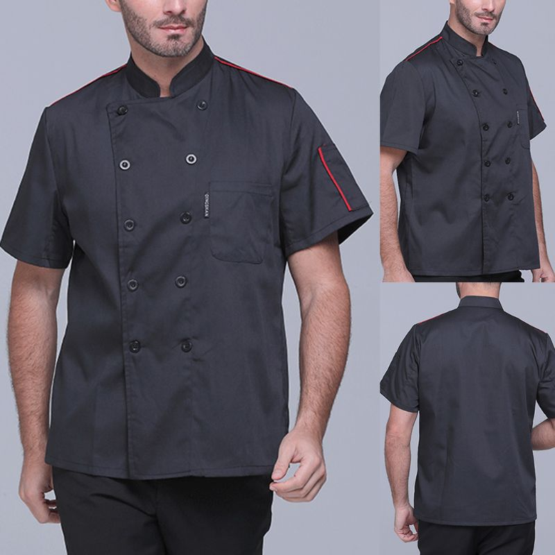 Chef Jacket Coat Cook-Uniforms Food-Service Restaurant Women Work-Apparel Short-Sleeve