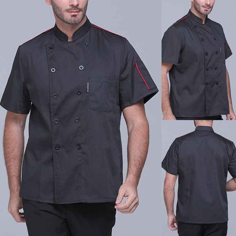男性の女性のプラスサイズ半袖クラシックシェフジャケットコート夏レストラン調理制服食品サービス作業アパレルポケット