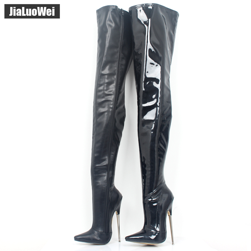7 High Heels Trend Women Winter Boots Patent Leather Boots Female Heel Plain Stretch Crotch Thigh High Boot Black Plus Size