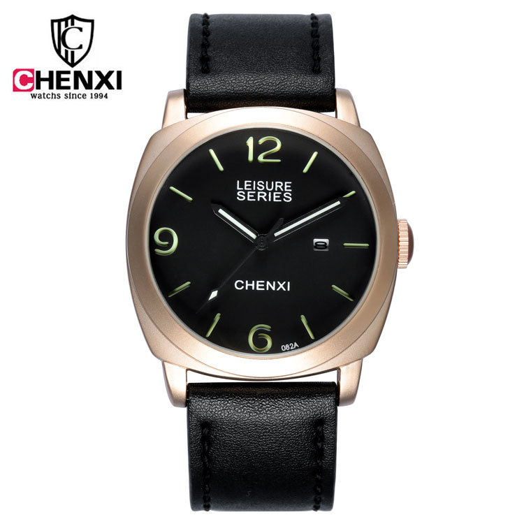 CHENXI Black Brown Waterproof Sports Army Military Backlight Leather Quartz Wristwatches Wrist Watch for Men Boy 082A OP001
