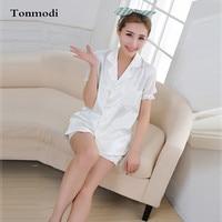 Women's Pajamas Summer White Satin Silk Short Sleeve Cardigan Nightshirt Pyjamas Women's Sleep Lounge Pajama Sets