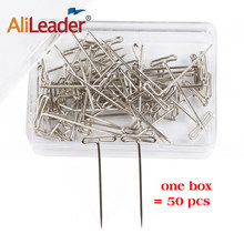 50 Pcs T Pins Type Needle 14mm*38mm For Wig On Canva Head Style Brazilian Indian Mannequin Head Sewing Hair Salon Styling Tools(China)