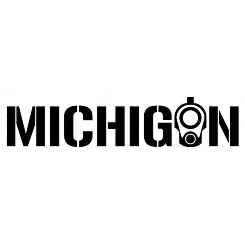 15X3.3CM MICHIGAN COLT 1911 2A CCW Gun Vinyl Stickers Motorcycle Decals Black/Silver S8-0047 image