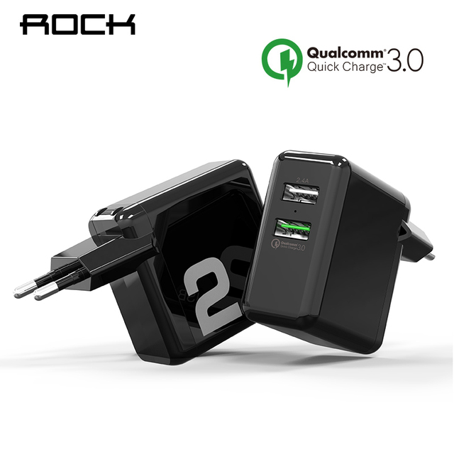 QC3.0 USB Charger, ROCK Dual USB 30W Quick Smart QC 3.0 FCP Phone Charge Universal For Xiaomi iPhone Samsung Huawei EU Plug