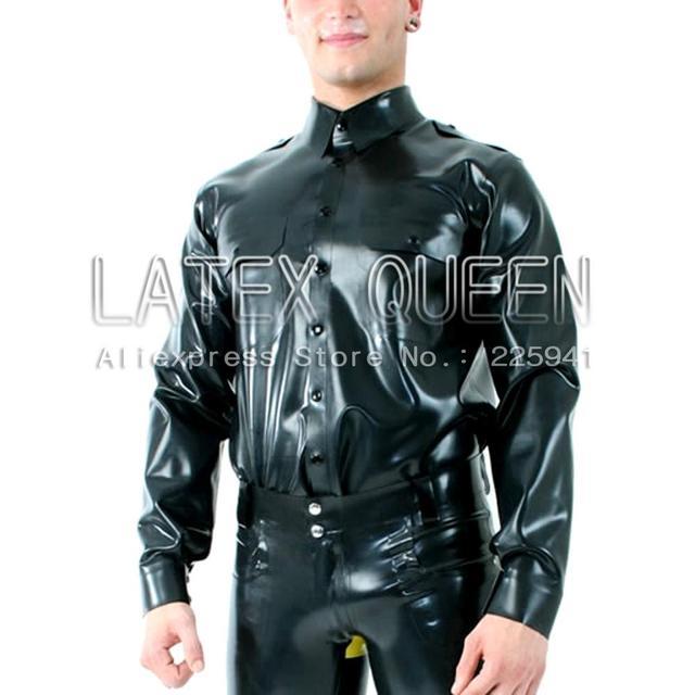 Men's latex jacket shirt costume in heavy 0.6mm latex