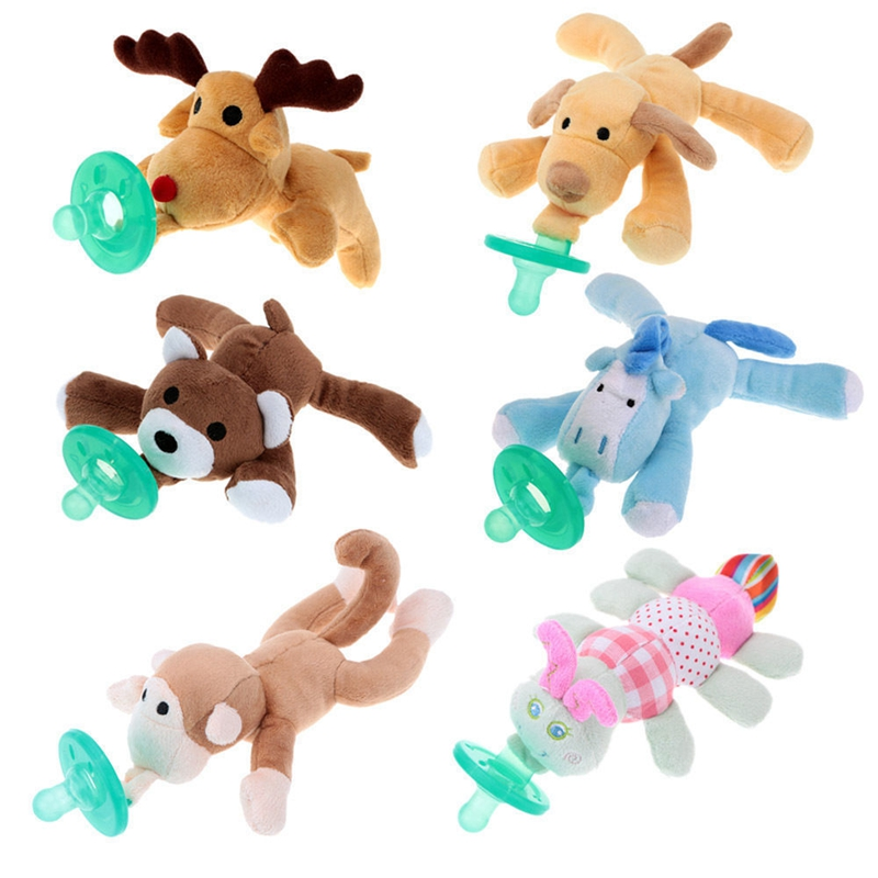 Lovely Infant Baby Boys Girls Cuddly Plush Animal Dummy Pacifiers Newborn Child Soother Silicone Orthodontic Nipples