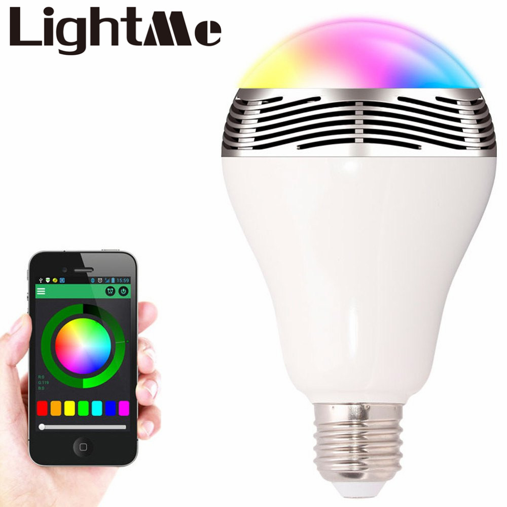 Smart Bulb E27 LED RGB Light Wireless Music LED Lamp Bluetooth Color Changing Bulb App Control Android IOS Smartphone smuxi e27 led rgb wireless bluetooth speaker music smart light bulb 15w playing lamp remote control decor for ios android