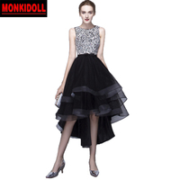 Sexy Black Homecoming Dresses 2019 Beading Sequins Crystal High Low Prom Dress Junior High Graduation Dresses Semi Formal Gowns