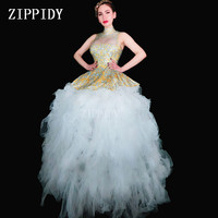 Fashion Yellow Rhinestones Dress Big Train Women Birthday Dress Prom Celebrate Nude White Mesh Tail Dresses Evening Outfit