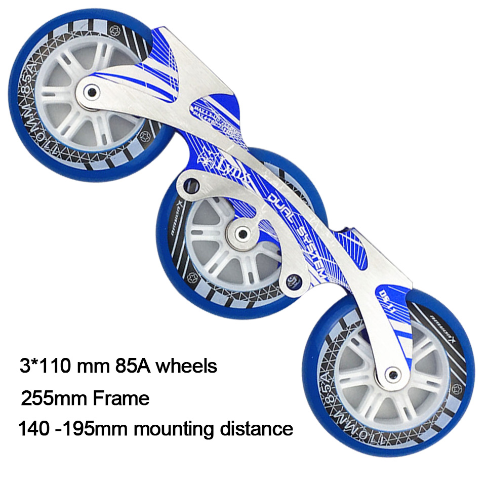3*110mm Speed Inline Skate Base Set 150-195mm Dinstance Frame ILQ-11 Bearing 85A PU Wheels for Powerslide Patines Skating Basin slalom fsk inline skates patines for adults daily skating sports with 85a pu wheels abec 7 bearing aluminium alloy frame base