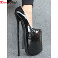 "Wonderheel appr. 12"" heel patent shiny pump EXTREME high HEEL 30CM heel with platform lady pump Sex fetish slip on stiletto heel"